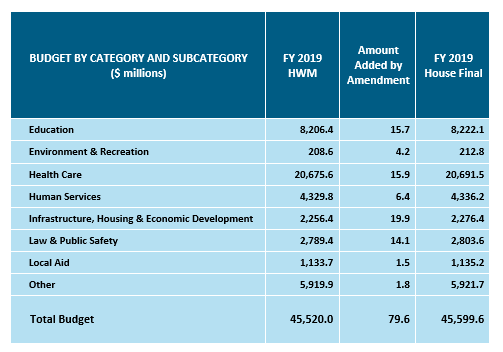 table: Budget by category and subcategory